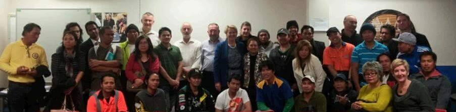 Minister Nicky Wagner (middle, in blue jacket) with the team of volunteers from Philippine Culture and Sports