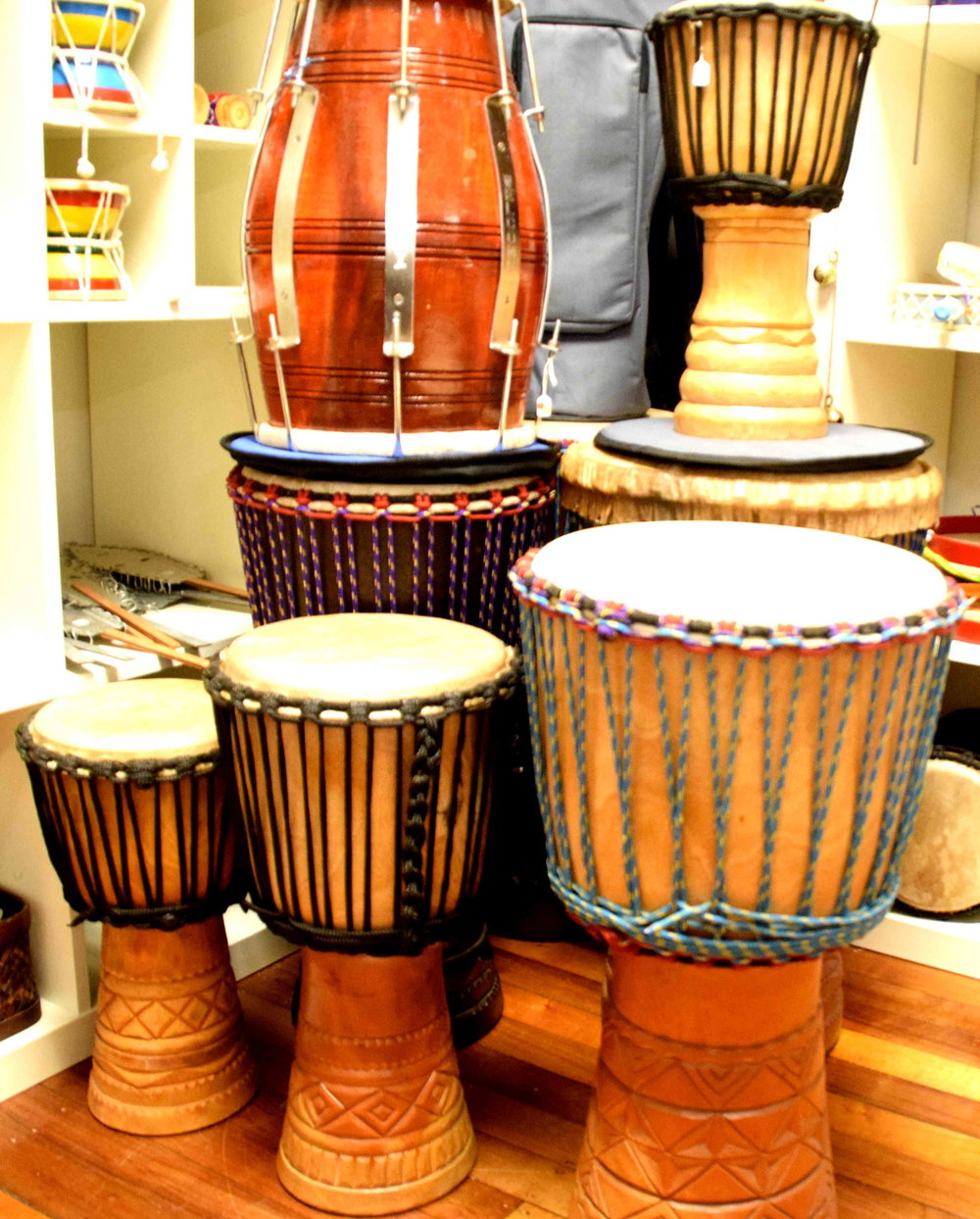 Congas and Bongos from Cuba; Damroo and Dhol from India; Darbuka, Dahola, Doumbek and Djembe from Africa