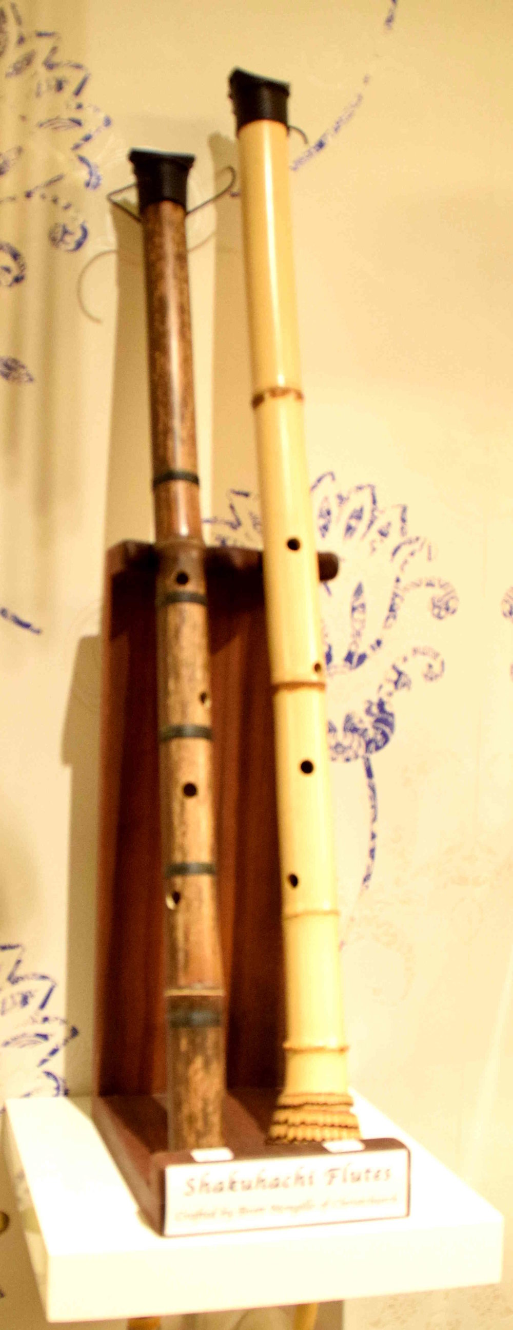 Shakuhachi flutes from Japan, traditionally made of bamboo and used by the monks of the Fuke Zen branch of Zen Buddhism for many centuries