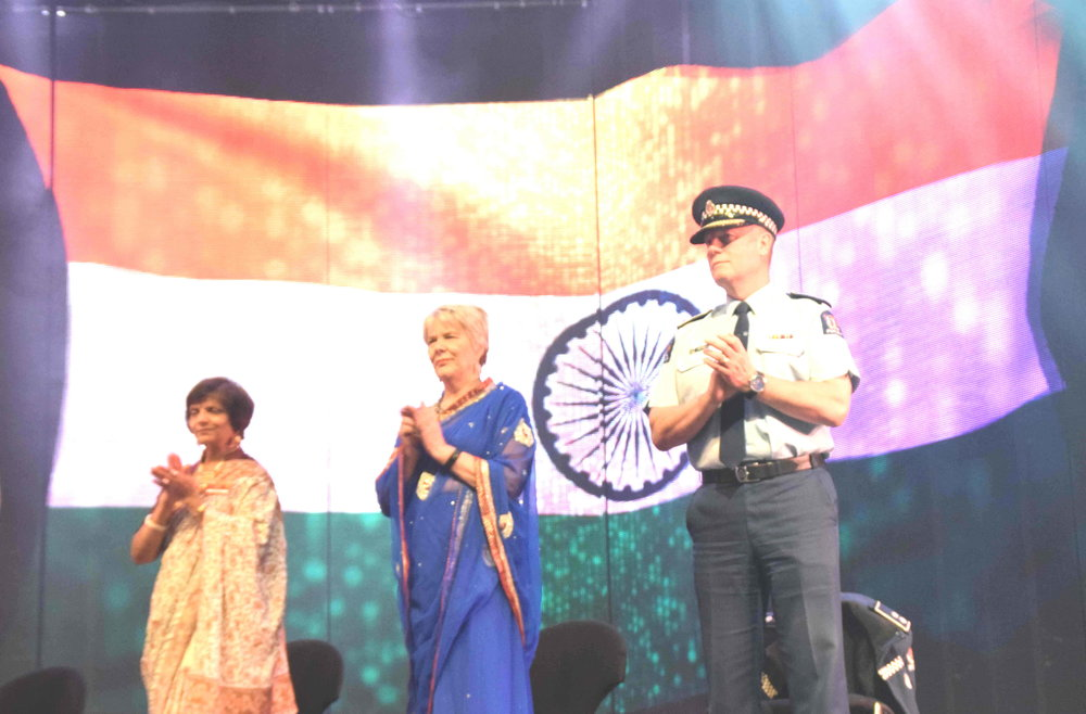 Minister Nicky Wagner, wearing a traditional Indian saree (in the middle), with Nalini Rama (one of the theming directors of the event), and Canterbury Police's District Commander John Price