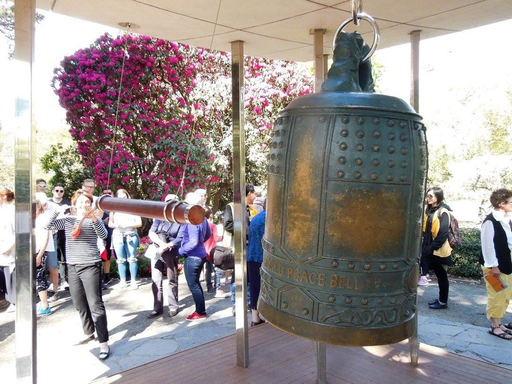 Susan Devoy at the World Peace Bell in Christchurch's Botanical Gardens