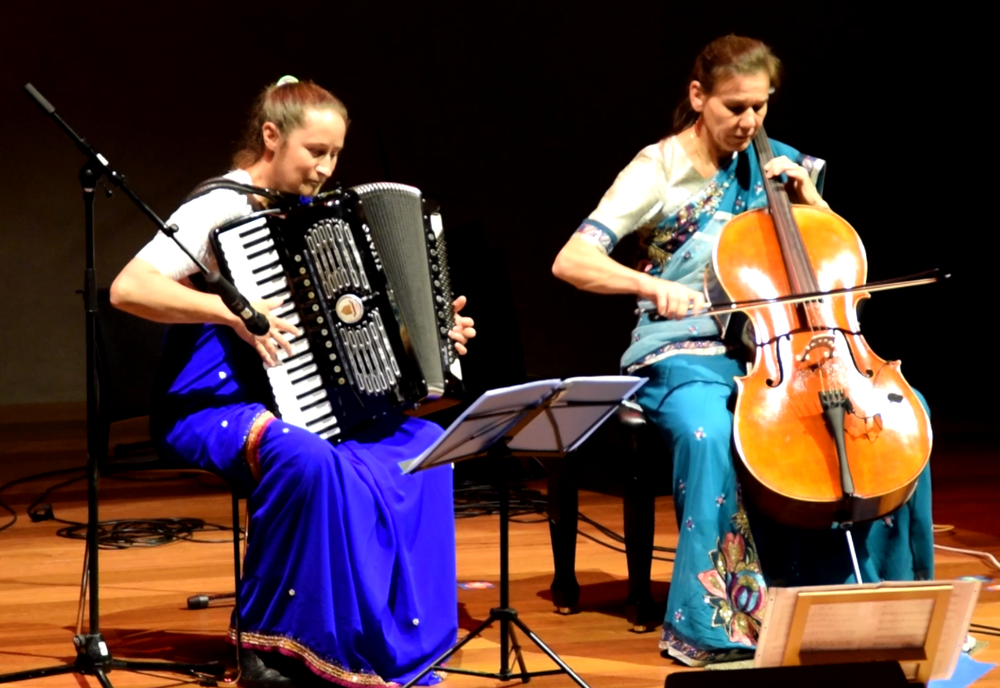 Shamita and Toshala, unique interpretations of melodies in traditional classical style on cello joined by accordion