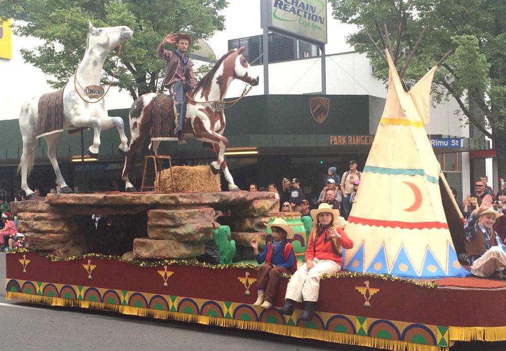 The controversial Ojibwe tribe float at Christchurch's 70th Annual Santa Parade