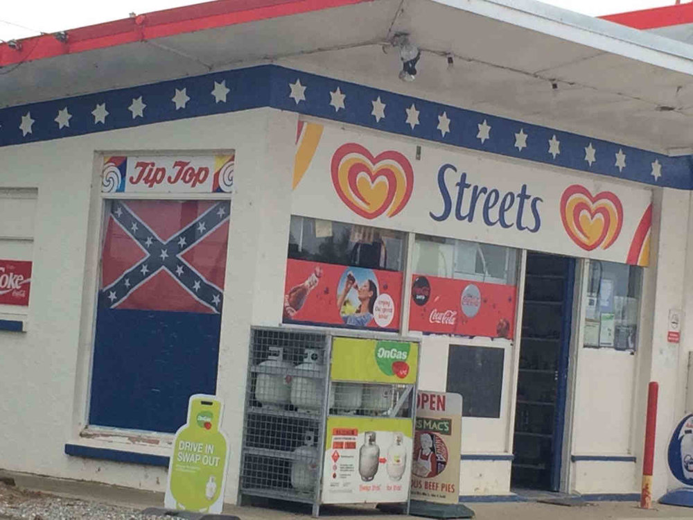 "But before we move further, a place of interest is Maheno Service Centre, just few kilometres from the Clarks Mill. The display of the Confederate flag, which in modern times has come to be associated with ""white supremacy"", is noticeable."