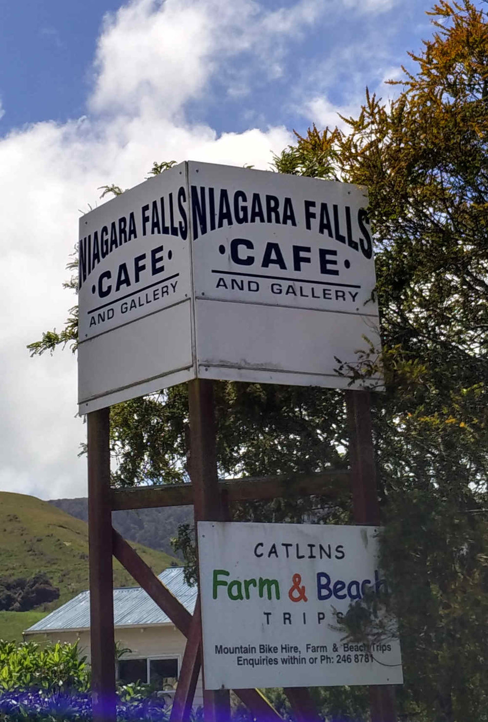 Count how many?  In place since 1893, Niagara Falls Cafe is now known in The Catlins as the home of one country's famous Paralympian and cyclist Laura Thompson.  She won one gold, one silver and one bronze at 2012 London and one silver and one bronze at Rio last year.