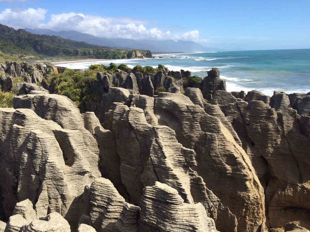 In Punakaiki - best known for its Pancake Rocks and Blowholes.
