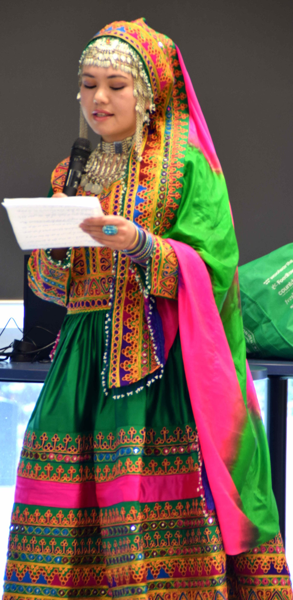 Maryam from Afghanistan addressing the gathering in Pashto, the South-Central Asian language of the Pashtuns