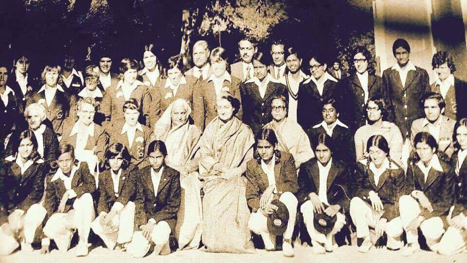 The first ever Indian Women Cricket Team with then Prime Minister Indira Gandhi in 1975; Ms Nayyar is next to Ms Gandhi on right, sitting in the front row (picture courtesy Nayan Nayyar)