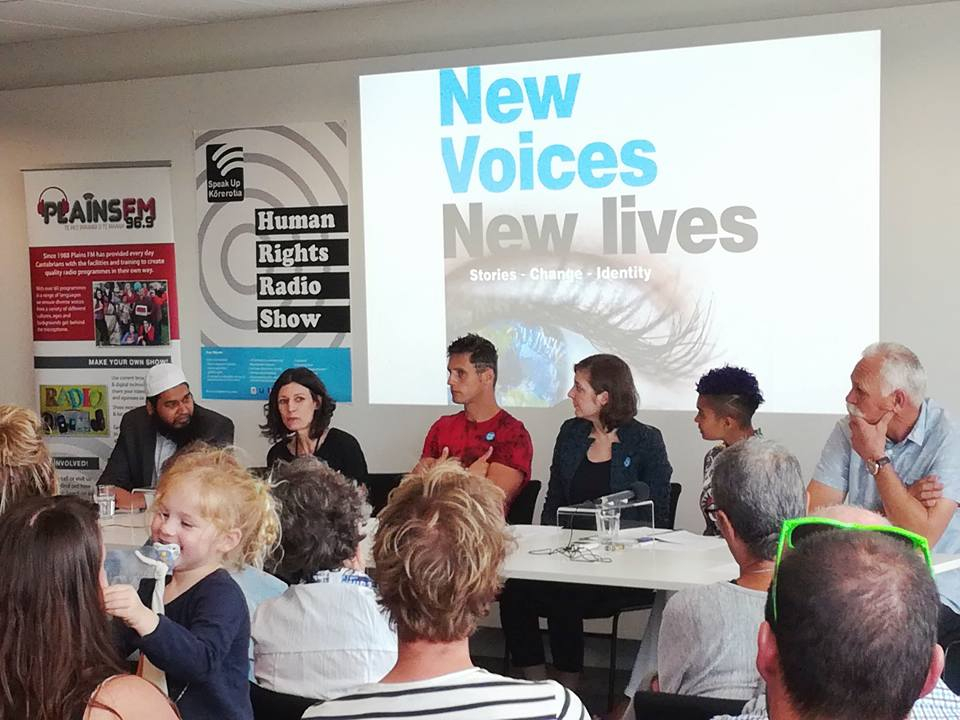New Voices New Lives radio show; on stage Leen Braam (Netherlands –Ashburton Council newly elected Councillor), Sophie-Claire, Cornelius Grobler (South Africa- professional boxer and youth leader), Tanya Robinson (Hawkes Bay Museum Director) Mubashir Muhktar (Pakistan, Satistician Ashburton District Council)