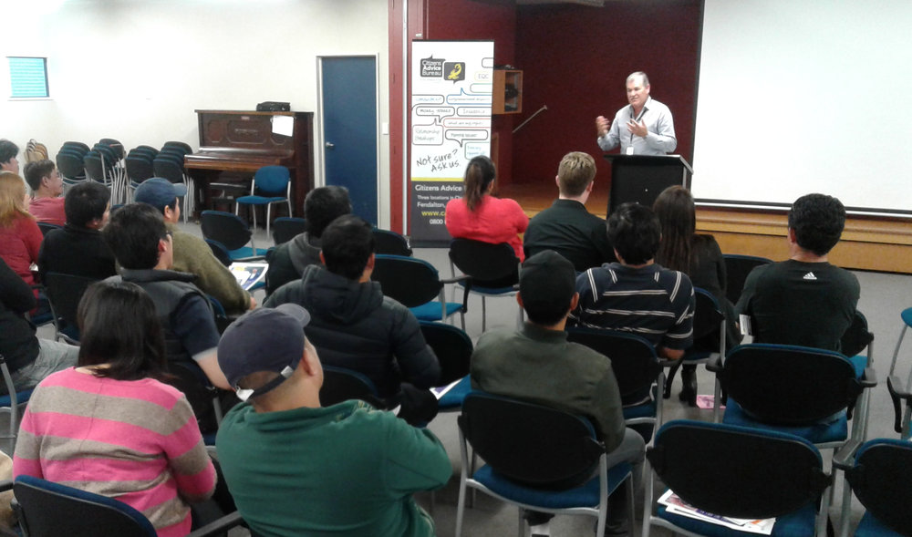 Gathering of Filipino dairy workers at a CAB seminar in Ashburton on March 29, where immigration issues and workers rights were discussed. (picture courtesy: Sally Carlton)