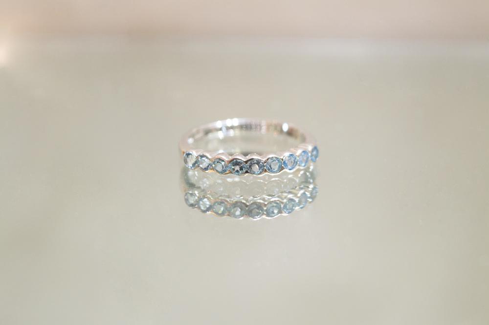 £215 ~ Blue Topaz 9ct White Gold Ring