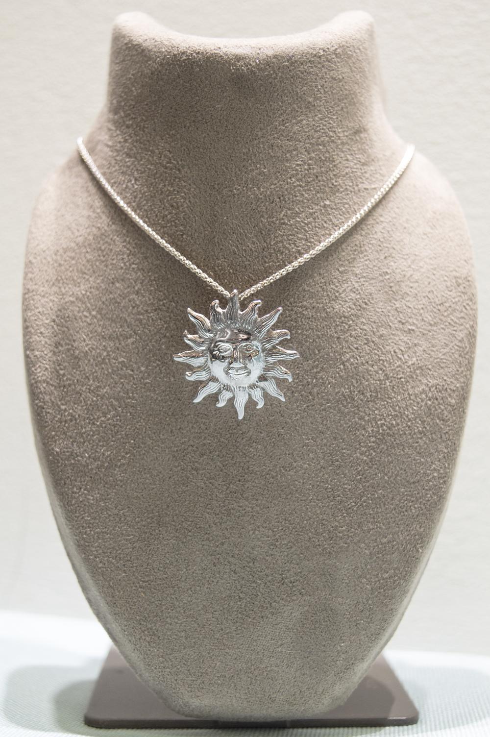 £295 - Handmade 9ct White Sun Pendant