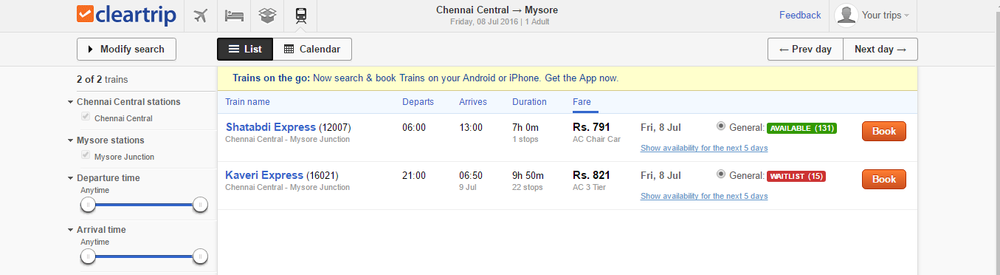 Example of fares on ClearTrip for my route from Chennai to Mysore