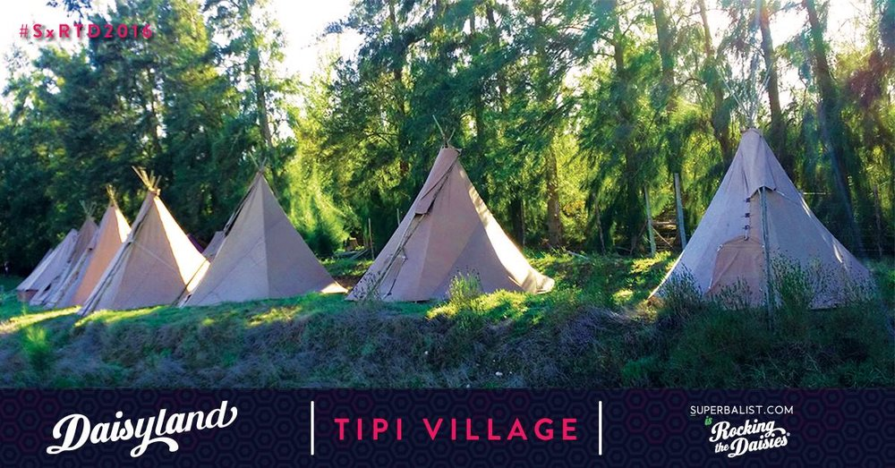 Tepee tents at Rocking The Daisies | Wanderlust Movement