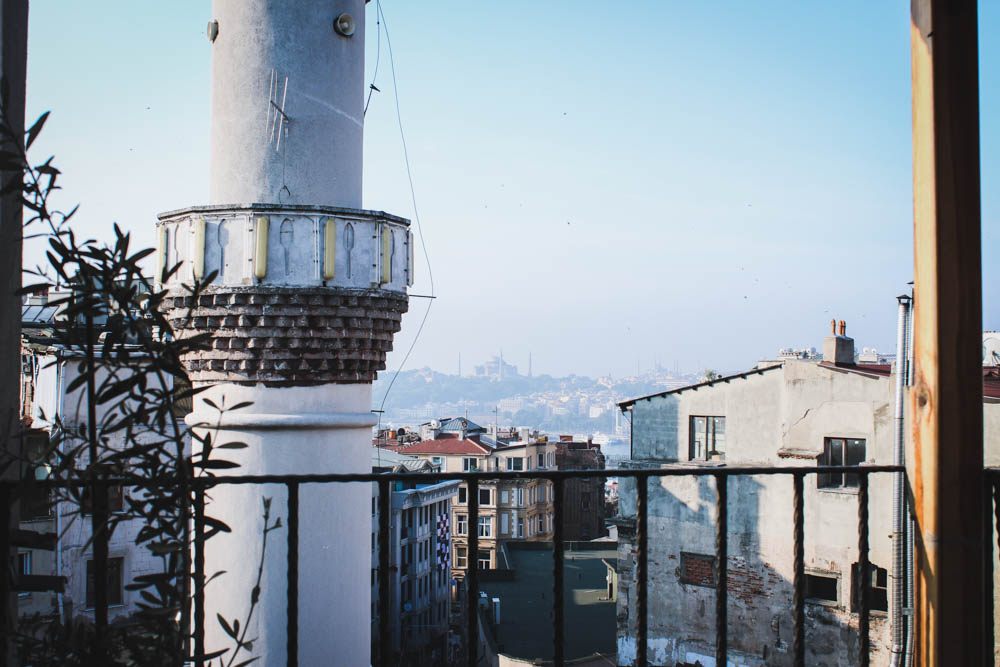 Rooftop view of Turkey at World House Hostel