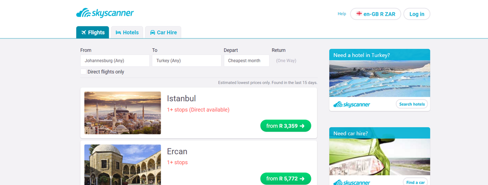 Skyscanner Johannesburg to Istanbul