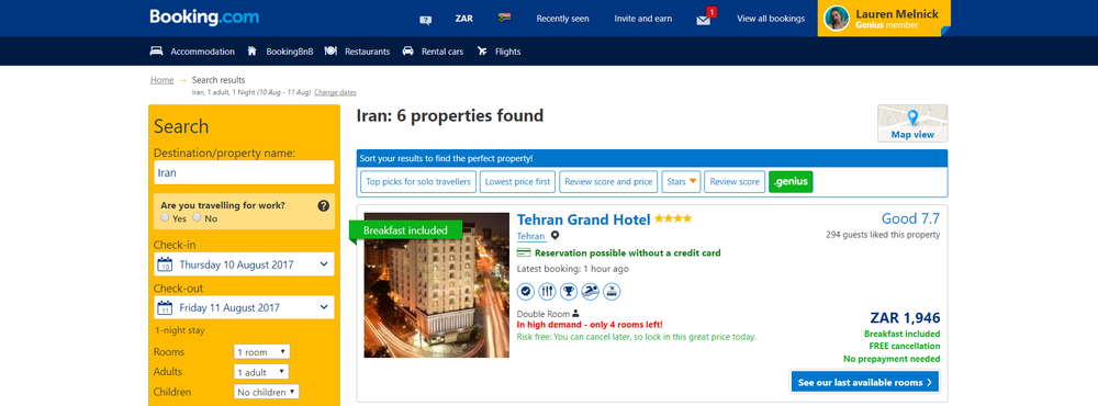 Proof of accommodation for Iran visa on arrival