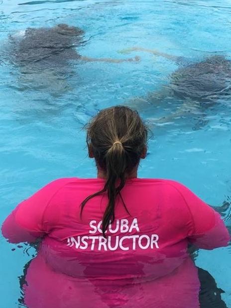 Plus size scuba diving instructor