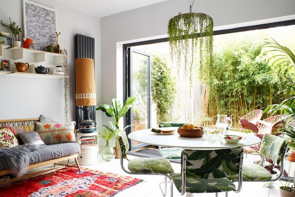 Emilie Fournet's kitchen with her brilliant string of pearls lightshade. Photograph: Rachael Smith