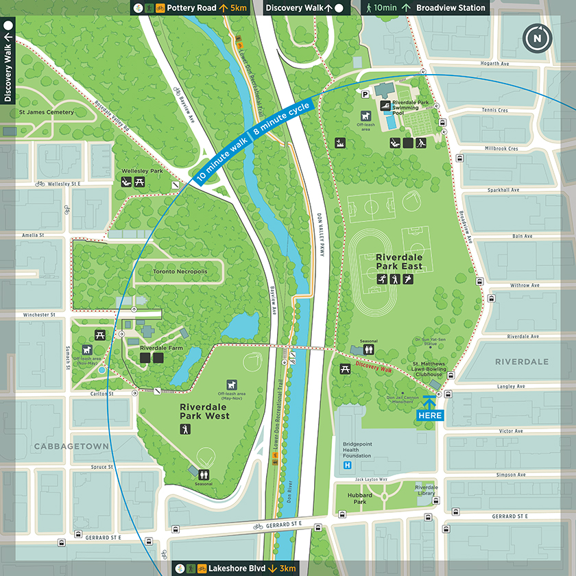 The TO360 map used as the base for parks