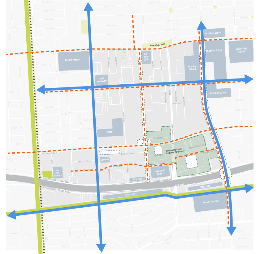 Plan showing movement and destinations in Greenway Plaza