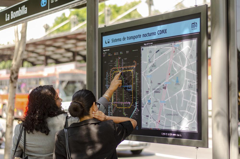 Pilot nochebús map on the Insurgentes line