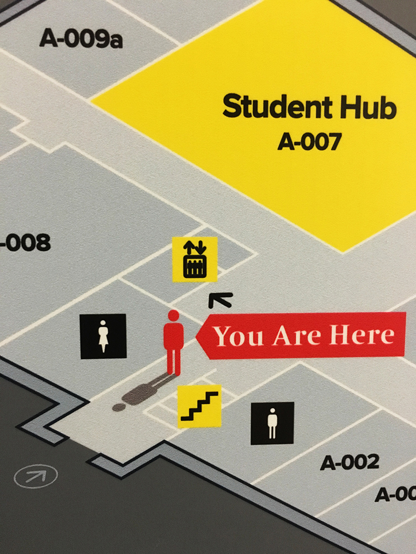 Building map detail helping users orientate themselves within a building