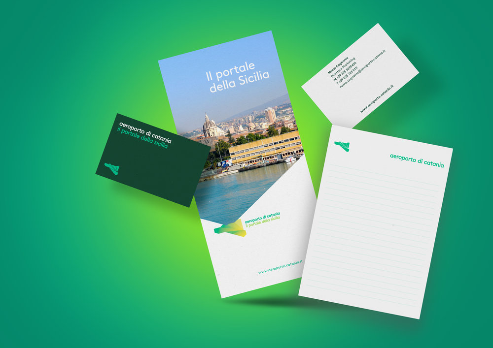 Catania airport visual identity applied to stationary and promotional items