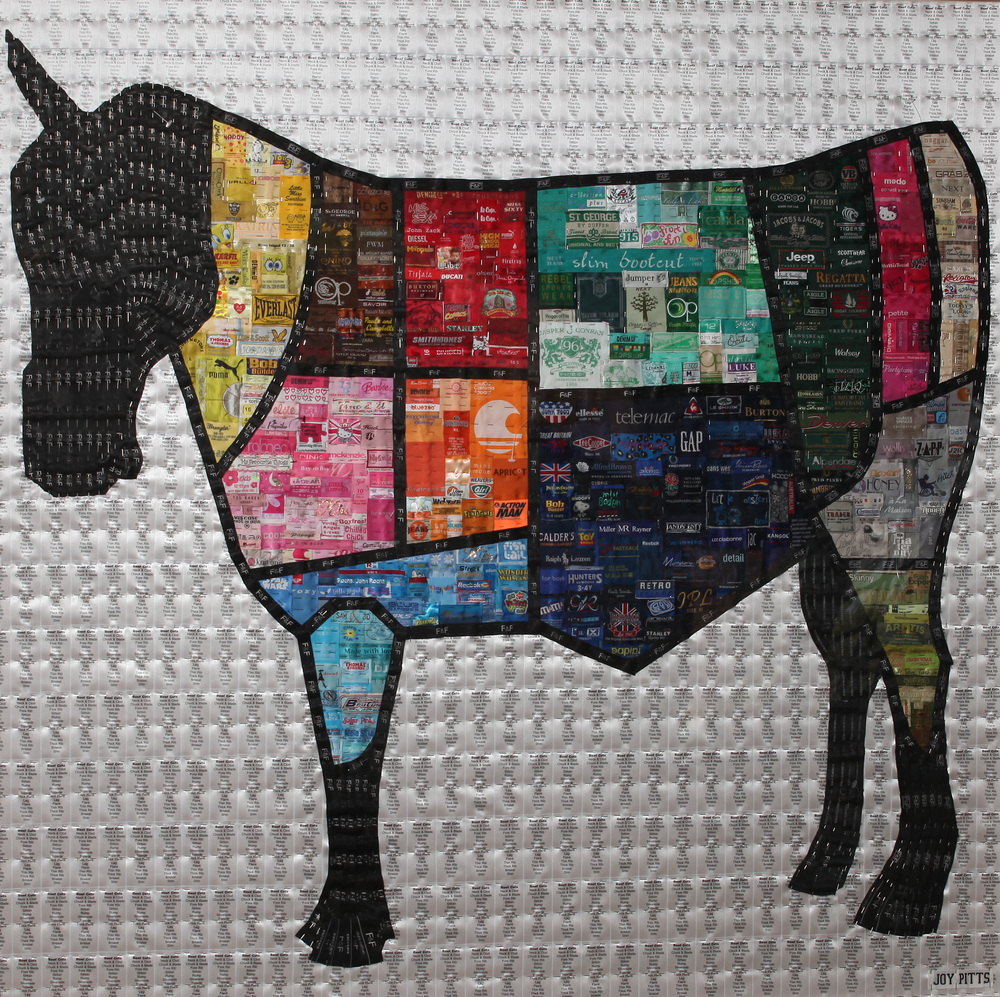 Beef cuts with the head of a horse with 5000 used labels 120 x 120 cm