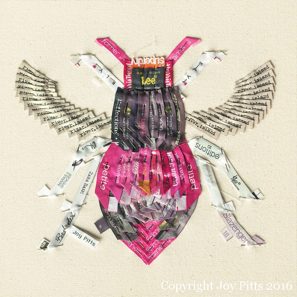 'Pink Bee with 83 garments' - Original available and Limited Edition Giclee print.