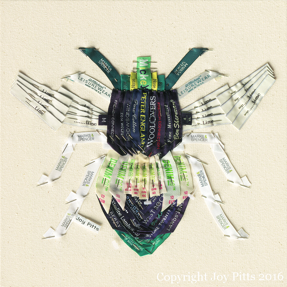 'Green Bee with 66 garments' - Original available and Limited Edition Giclee print.
