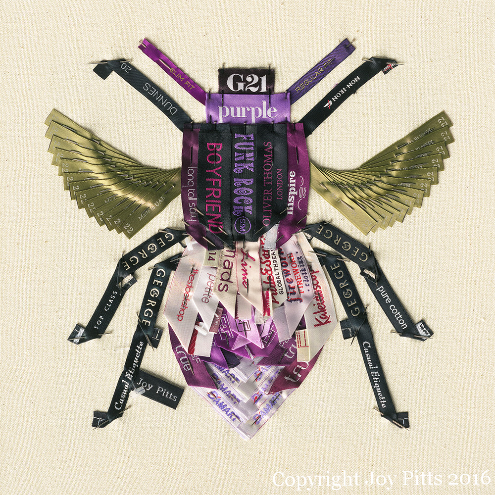 'Purple Bee with 68 garments' - Original SOLD, Limited Edition Giclee print available.