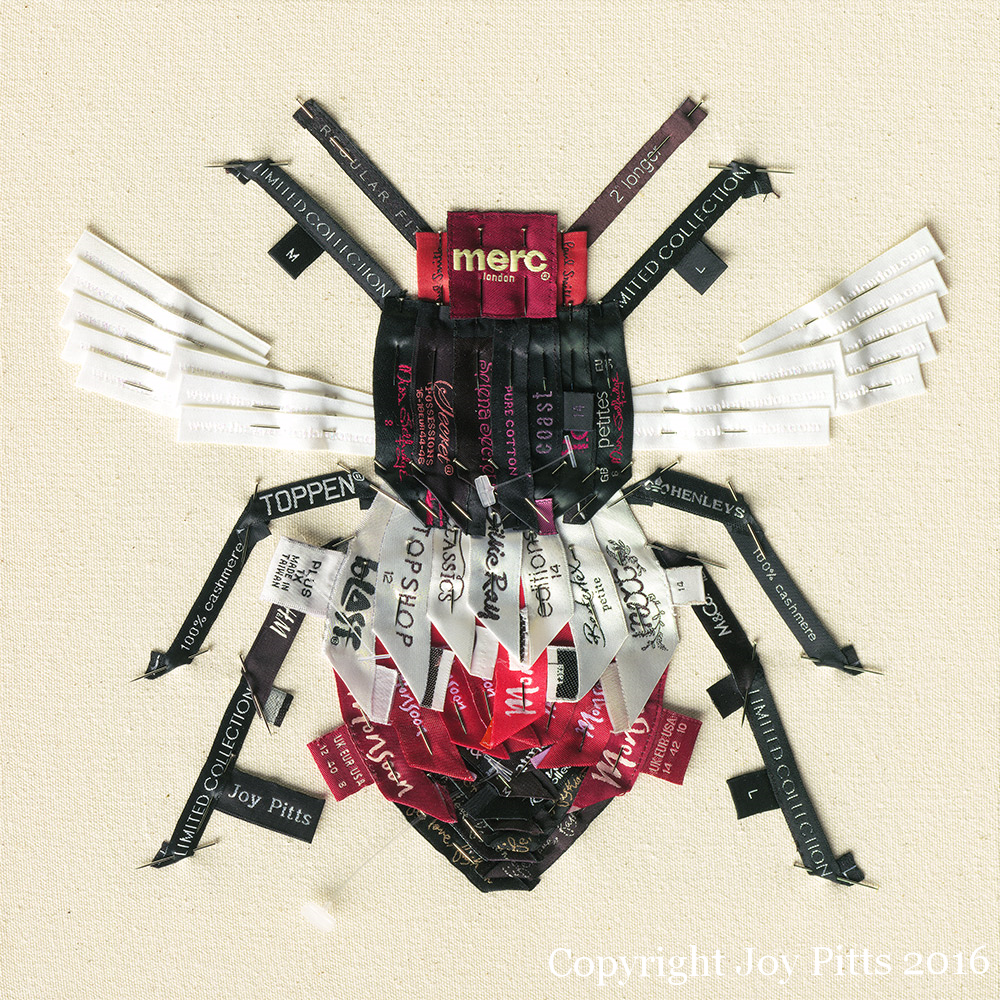'Red Bee with 61 garments' - Original available and Limited Edition Giclee print.