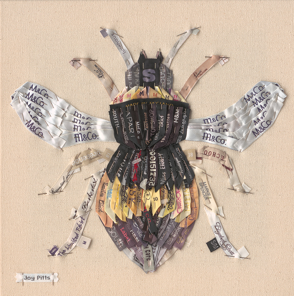 'Yellow Bee with 104 garments' - Original SOLD, Limited Edition Giclee print available.