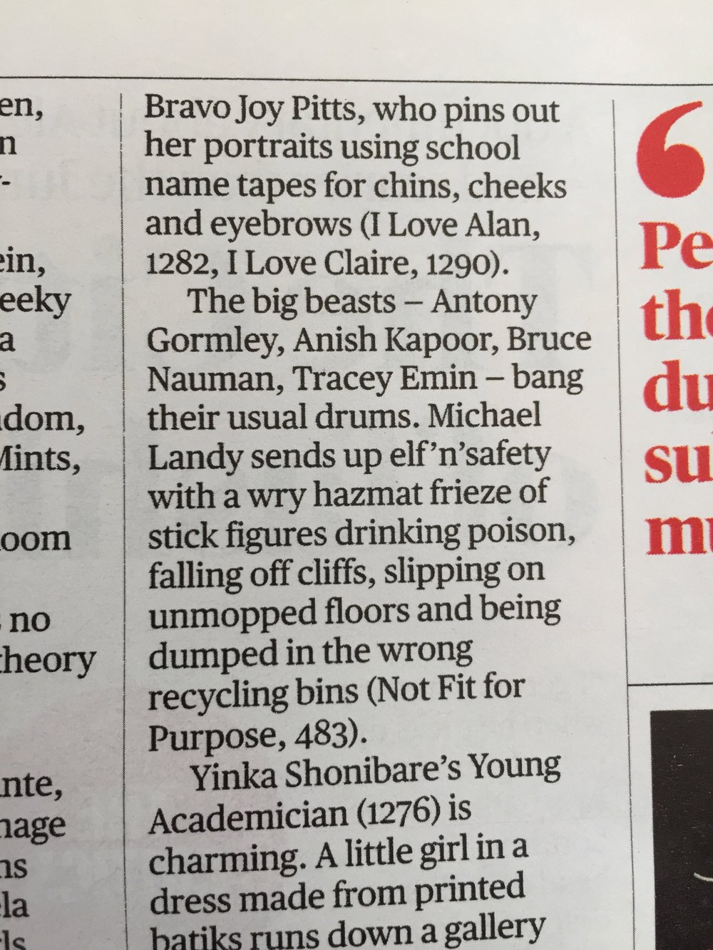 This was a review in The Times Culture magazine about The Royal Academy Summer Exhibition, page 11 on 10th June 2018 written by Laura Freeman.
