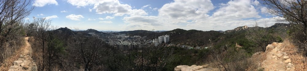 Seoul from the top of a mountain in Bukhansan National Park