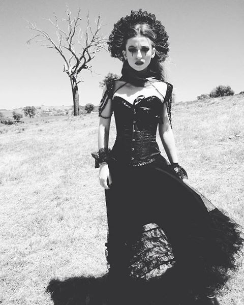 Custom lace headpiece made for Melbourne dark pop musician Katherine Hymer. Photographer: Max Pan