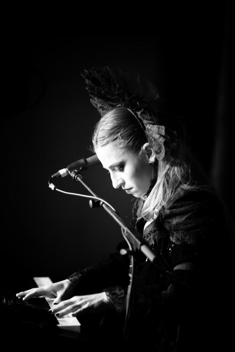 Custom lace headpiece made for Melbourne dark pop musician Katherine Hymer. Photographer: Peter Cahill