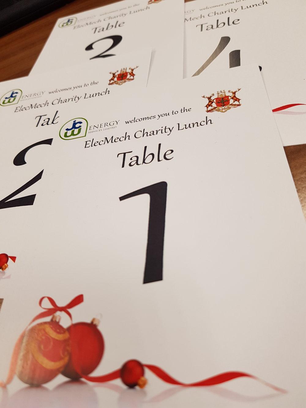 ElecMech Charity Lunch Place Settings