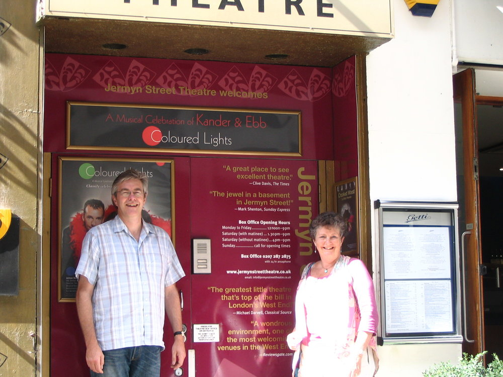Ann and Andrew Ellison at the Entrance of Jermyn Street Theatre