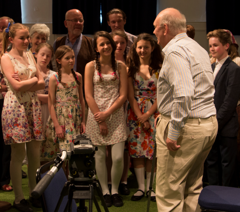 Sir Alan Ayckbourn meeting the Next Stage Youth Members of the cast of his own play House and Garden, 2014