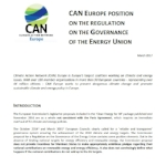 CAN Europe position on the regulation of the governance of the Energy Union