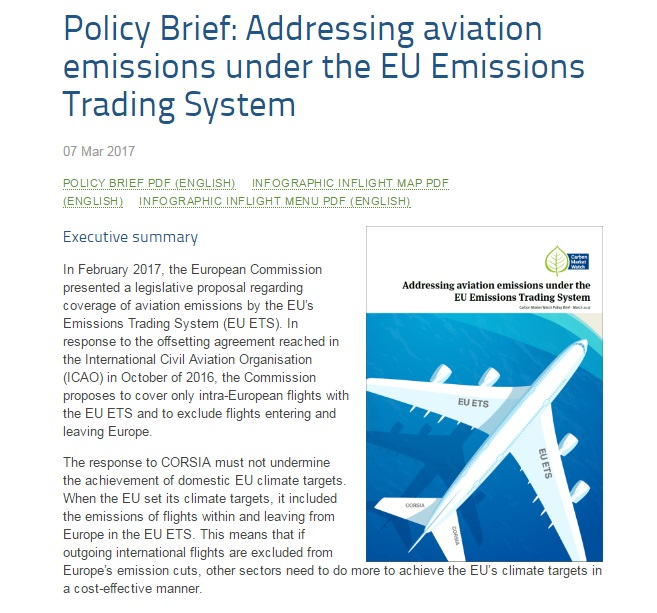 Carbon Market Watch policy brief: Addressing aviation emissions under the EU Emissions Trading System