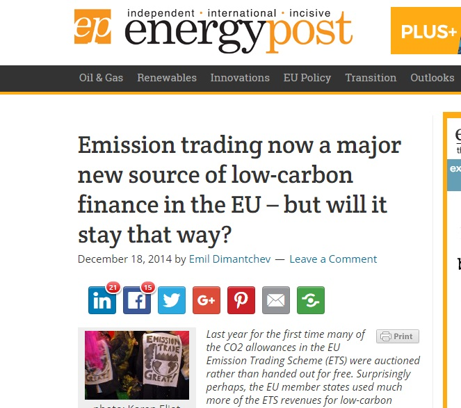 Energy Post article on use of emissions trading revenues for low-carbon finance (2014)