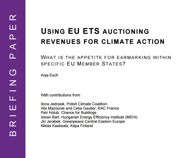 GermanWatch paper on earmarking ETS allowances for climate action (2013)