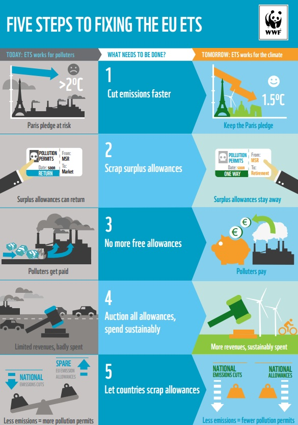 WWF infographic 'Five steps to fixing the EU ETS' (2016)