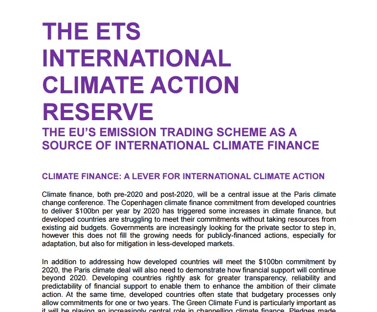 Oxfam paper on the EU ETS as a source of international climate finance