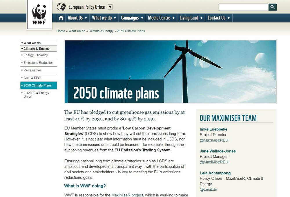 WWF European Policy Office: webpage overview of 2050 climate plans