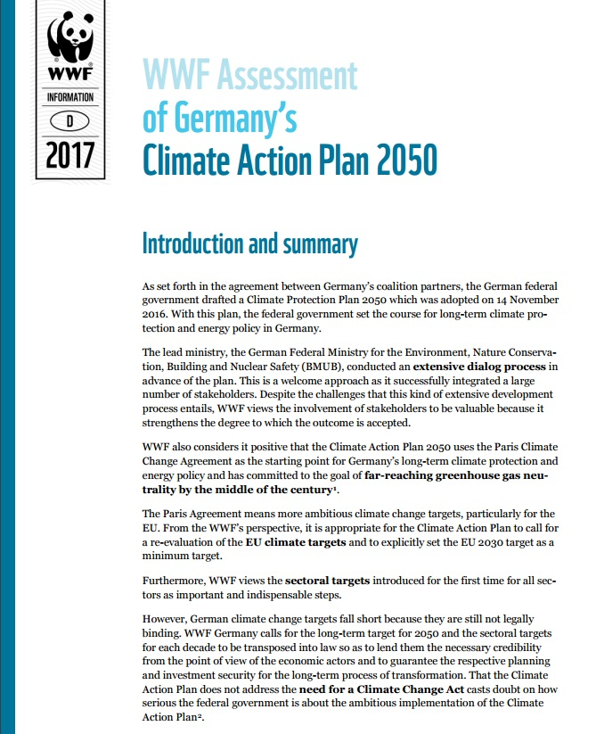 WWF Germany's assessment of Germany's Climate Action Plan 2050 (2017 update) (March 2017)