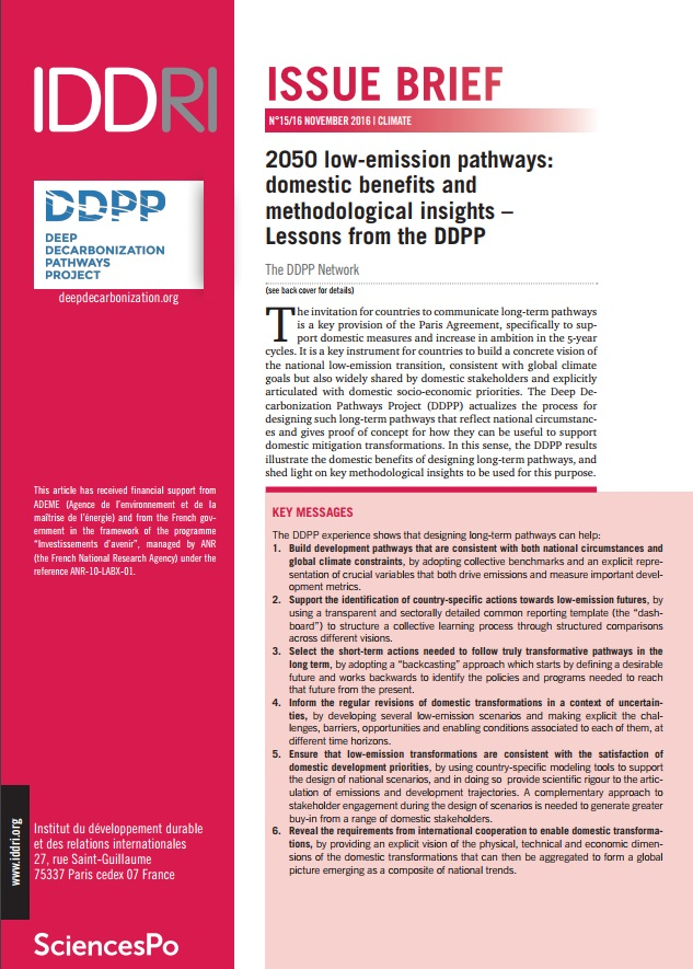 The Deep Decarbonisation Pathways Project – IDDRI: 2050 low-emission pathways: domestic benefits and methodological insights (2016)